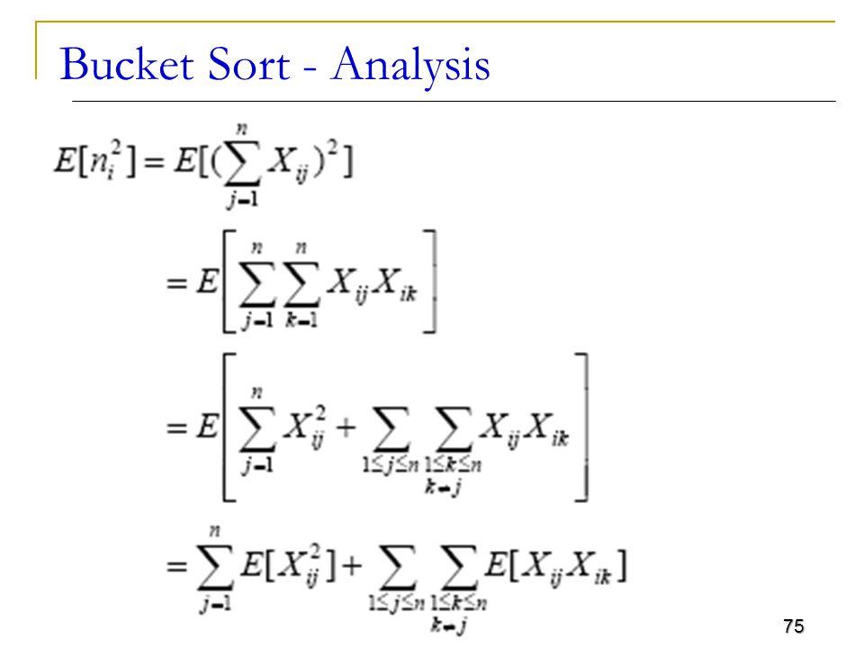 Bucket Sort - Analysis