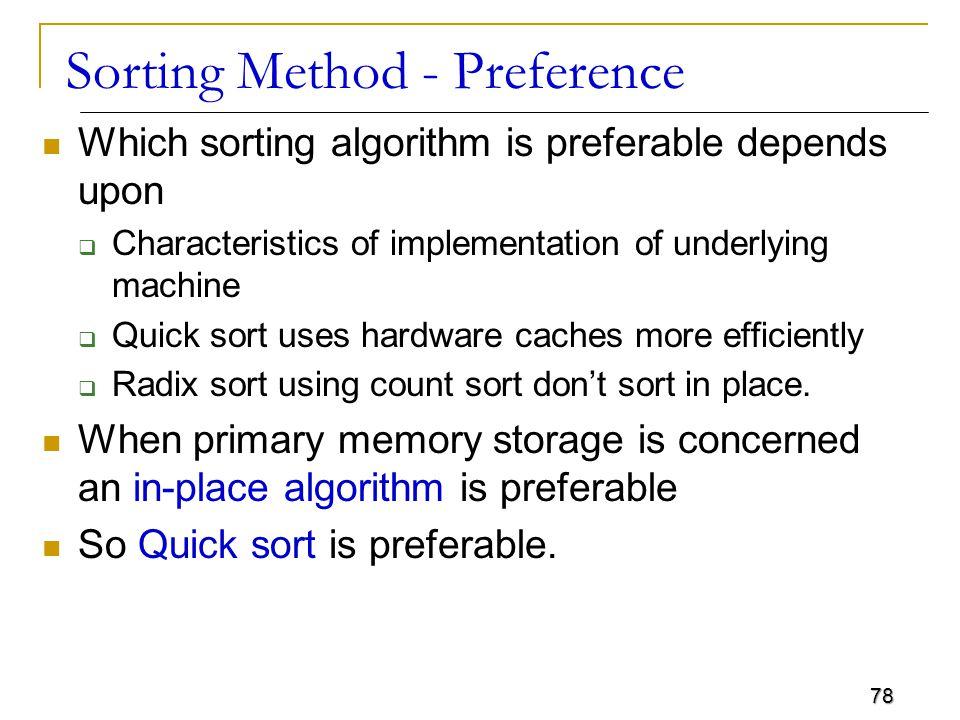 Sorting Method - Preference