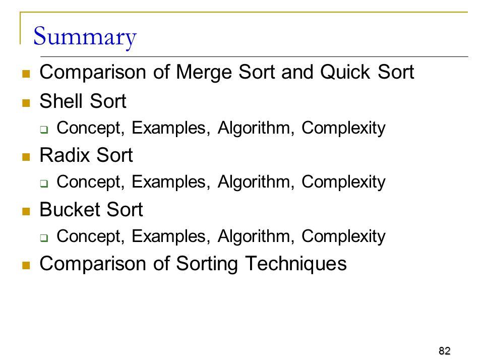 Summary Comparison of Merge Sort and Quick Sort Shell Sort Radix Sort