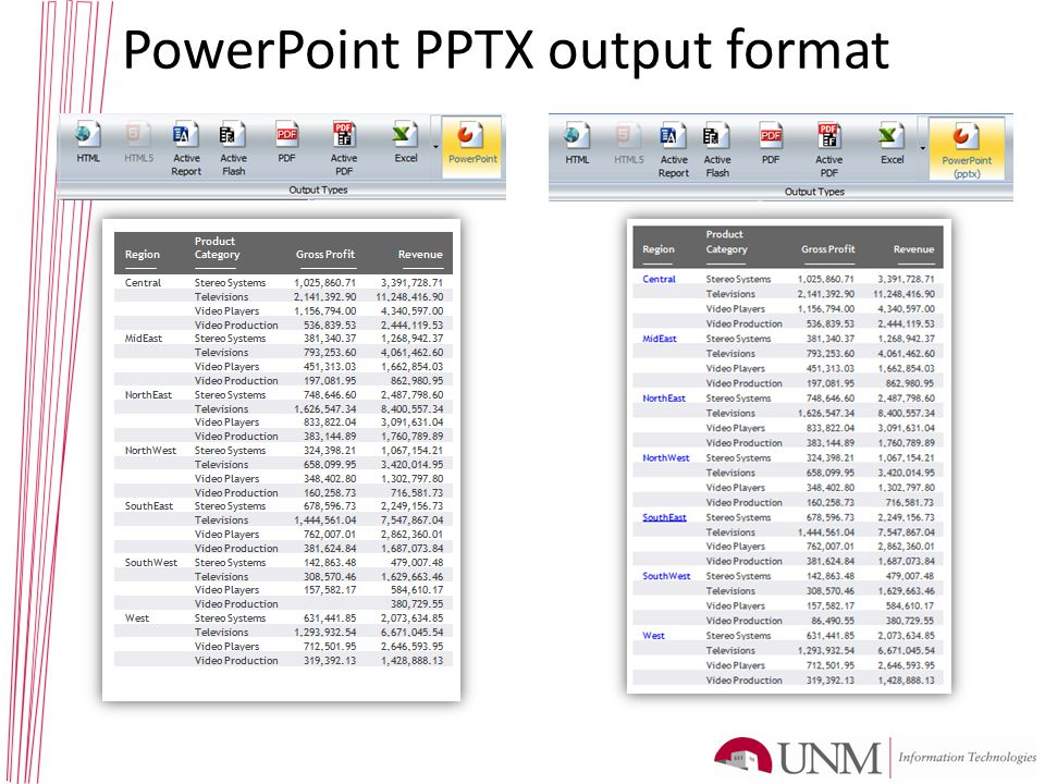 PowerPoint PPTX output format