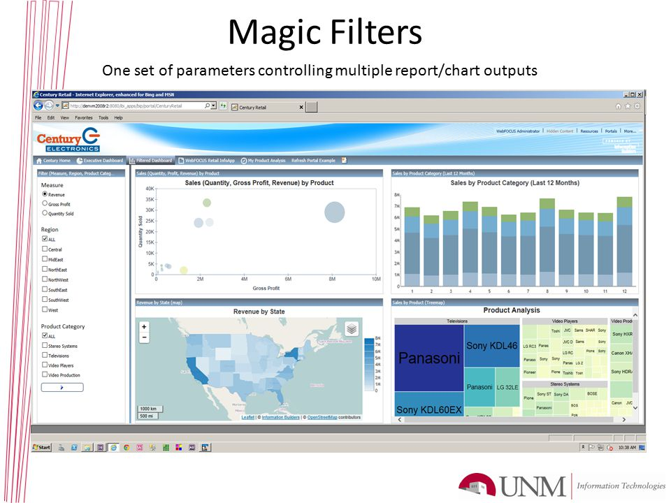 Magic Filters One set of parameters controlling multiple report/chart outputs