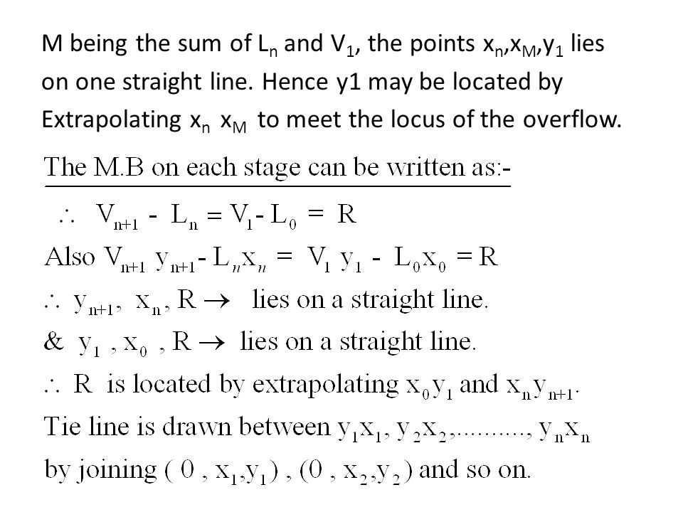 M being the sum of Ln and V1, the points xn,xM,y1 lies on one straight line.