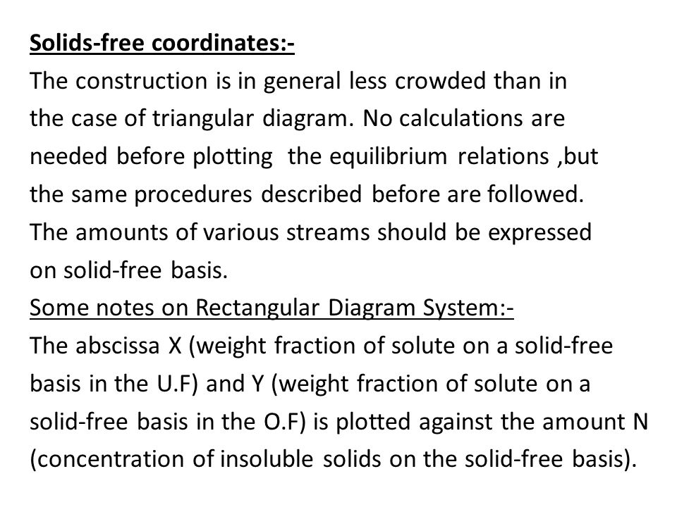 Solids-free coordinates:- The construction is in general less crowded than in the case of triangular diagram.