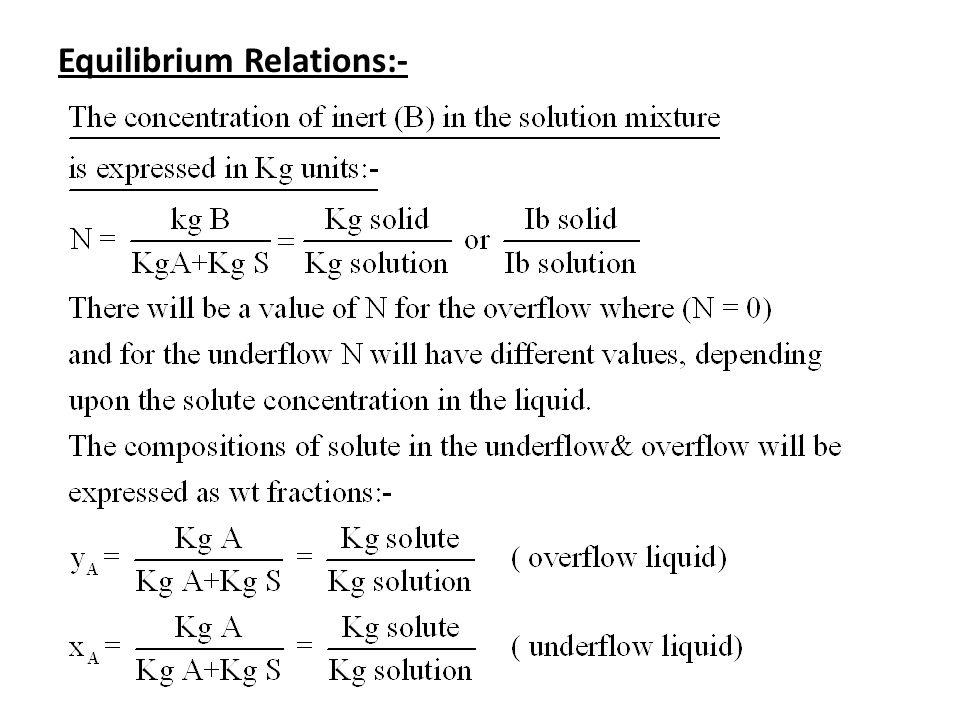 Equilibrium Relations:-