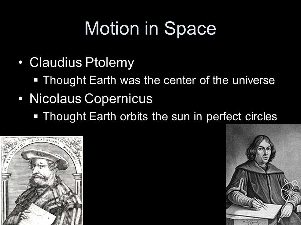 Motion in Space Claudius Ptolemy Nicolaus Copernicus