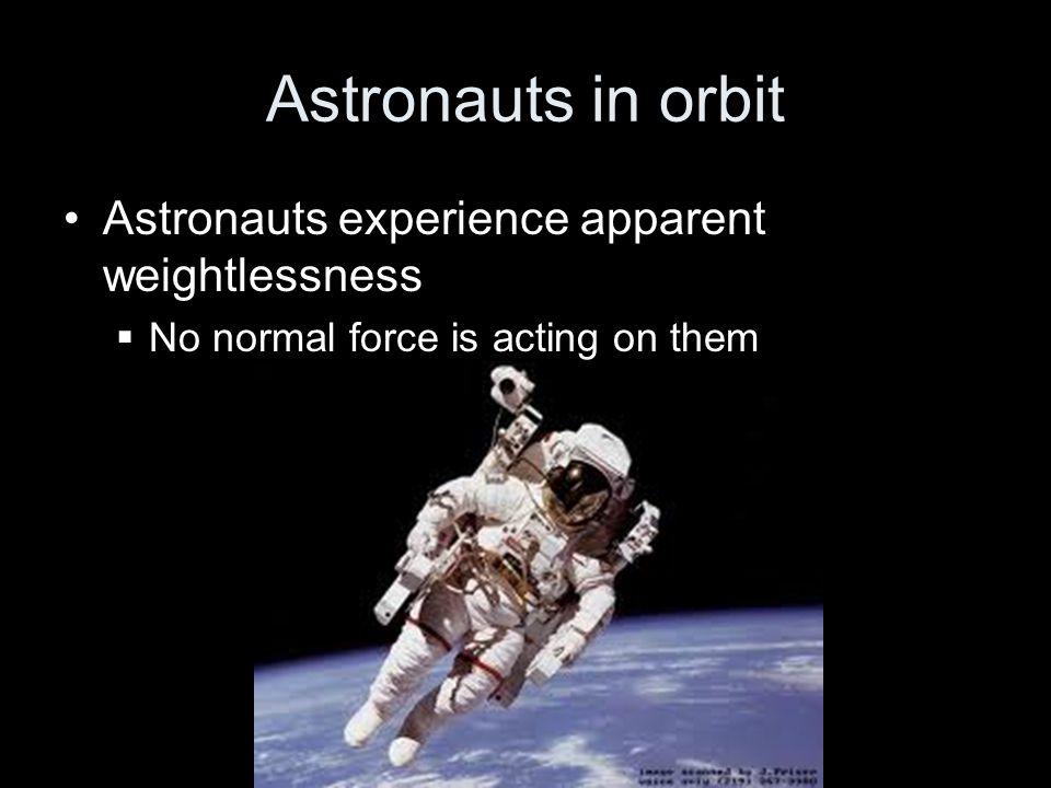 Astronauts in orbit Astronauts experience apparent weightlessness