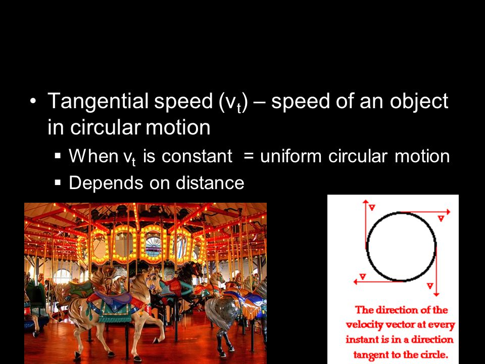 Tangential speed (vt) – speed of an object in circular motion