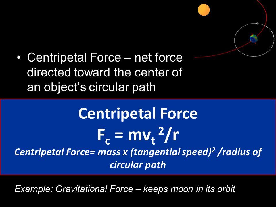 Centripetal Force= mass x (tangential speed)2 /radius of circular path