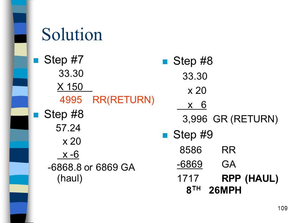 Solution Step #7 Step #8 Step #8 Step #9 33.30 33.30 X 150 x 20