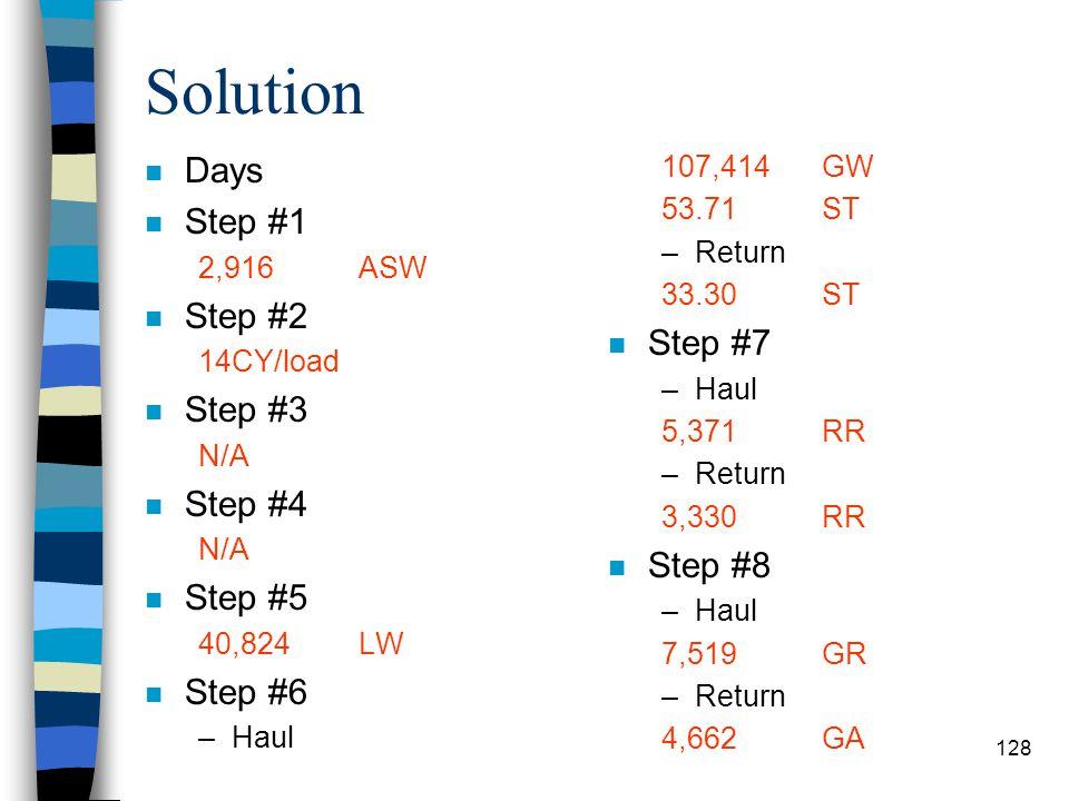 Solution Days Step #1 Step #2 Step #7 Step #3 Step #4 Step #8 Step #5