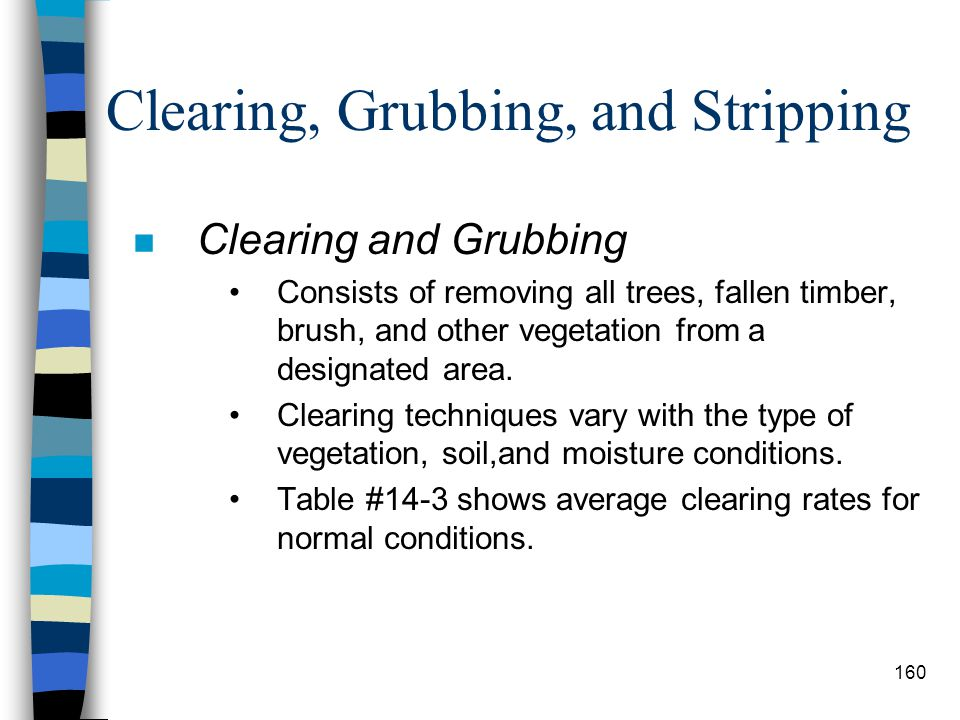 Clearing, Grubbing, and Stripping