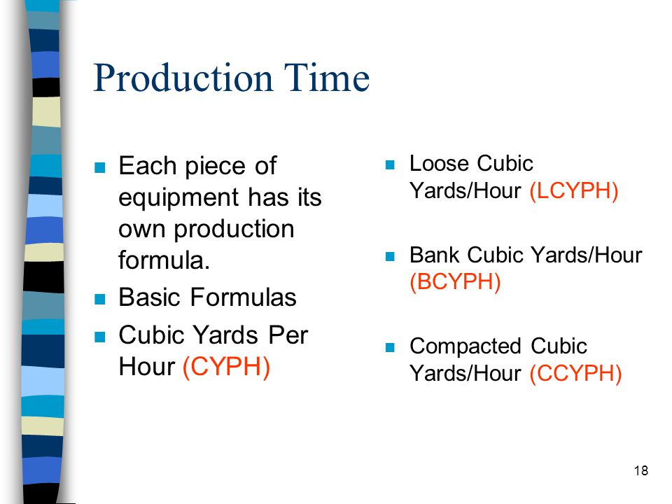 Production Time Each piece of equipment has its own production formula. Basic Formulas. Cubic Yards Per Hour (CYPH)