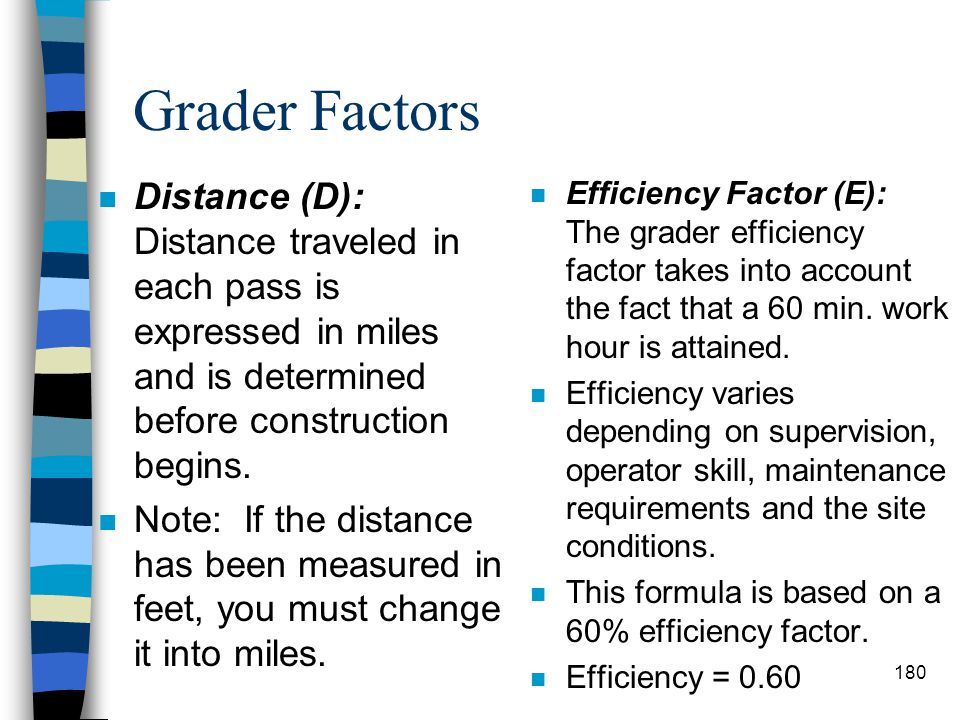 Grader Factors Distance (D): Distance traveled in each pass is expressed in miles and is determined before construction begins.