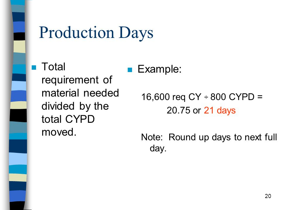 Production Days Total requirement of material needed divided by the total CYPD moved. Example: 16,600 req CY ÷ 800 CYPD =