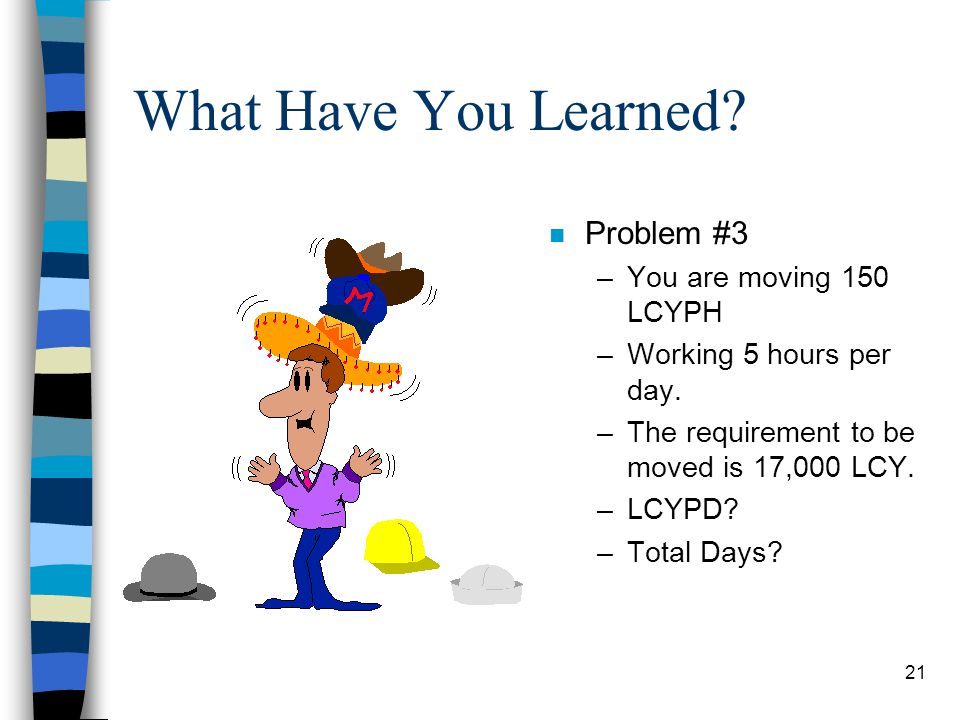What Have You Learned Problem #3 You are moving 150 LCYPH