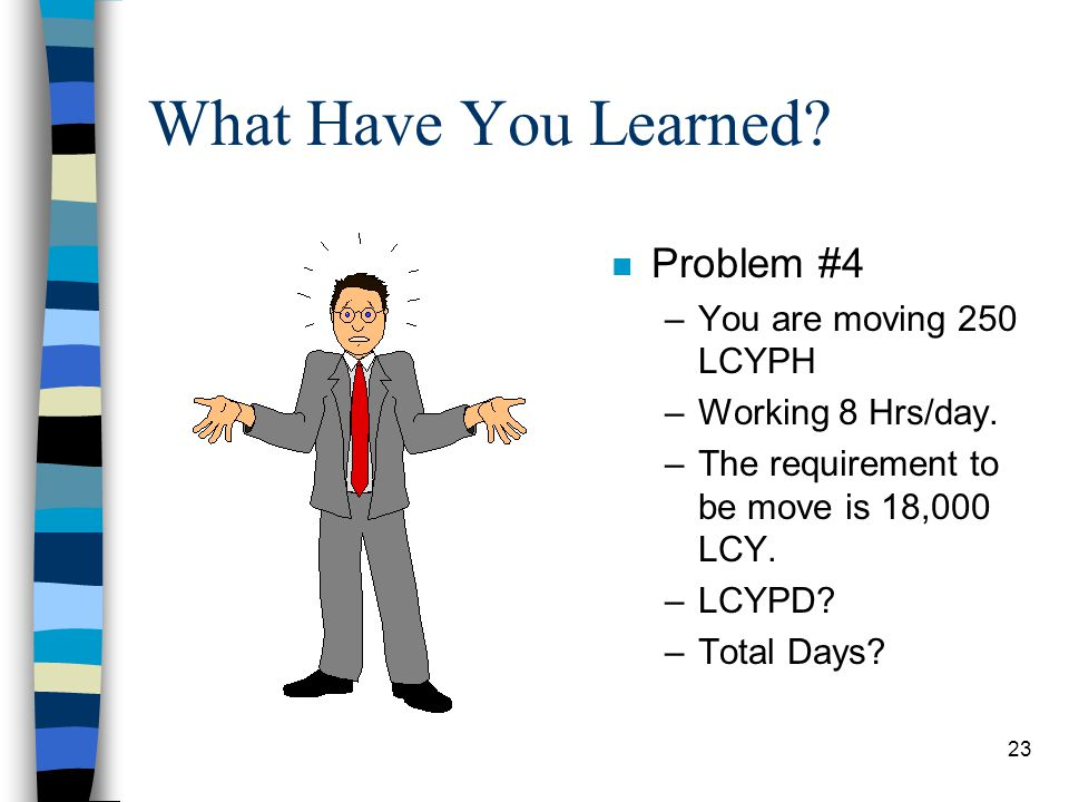 What Have You Learned Problem #4 You are moving 250 LCYPH