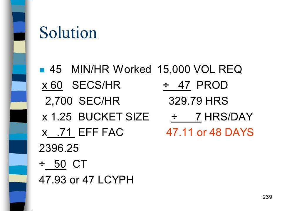Solution 45 MIN/HR Worked 15,000 VOL REQ x 60 SECS/HR ÷ 47 PROD