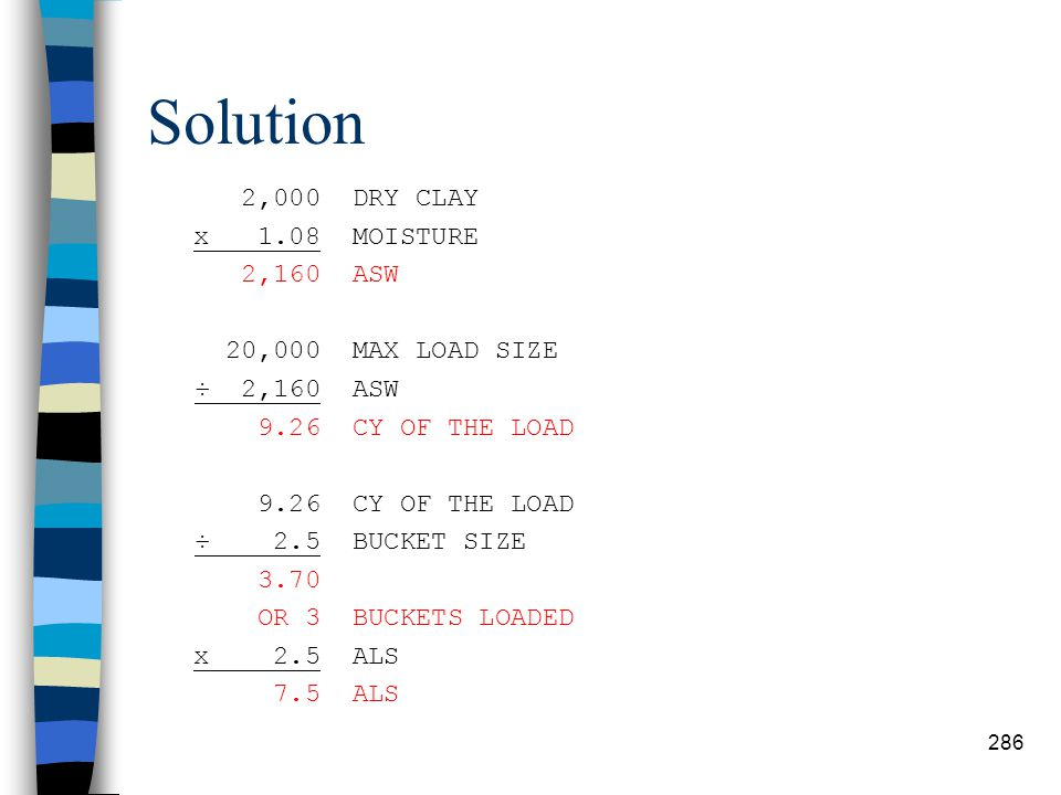 Solution 2,000 DRY CLAY x 1.08 MOISTURE 2,160 ASW 20,000 MAX LOAD SIZE