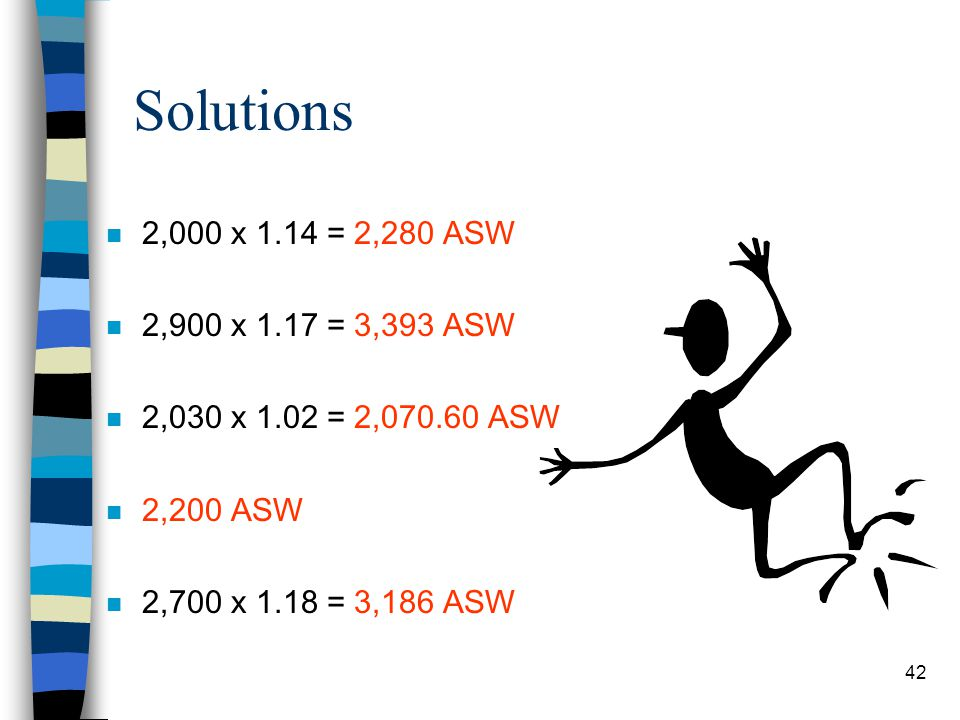 Solutions 2,000 x 1.14 = 2,280 ASW. 2,900 x 1.17 = 3,393 ASW. 2,030 x 1.02 = 2,070.60 ASW. 2,200 ASW.