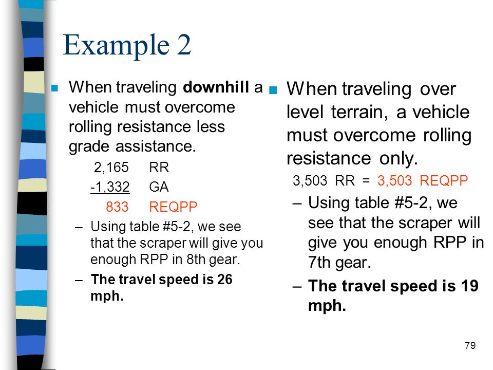 Example 2 When traveling downhill a vehicle must overcome rolling resistance less grade assistance.