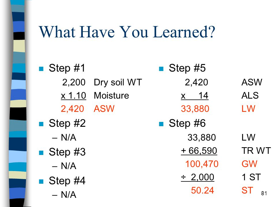 What Have You Learned Step #1 Step #2 Step #3 Step #4 Step #5 Step #6