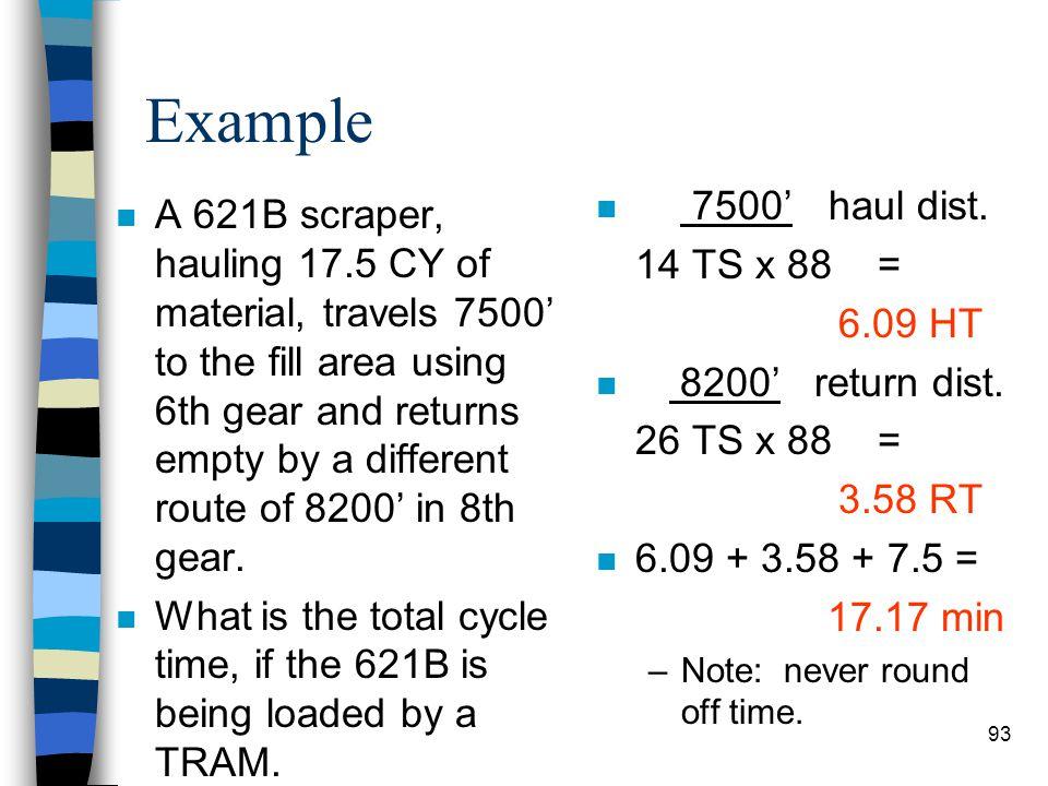 Example 7500' haul dist. 14 TS x 88 = 6.09 HT. 8200' return dist. 26 TS x 88 = 3.58 RT.
