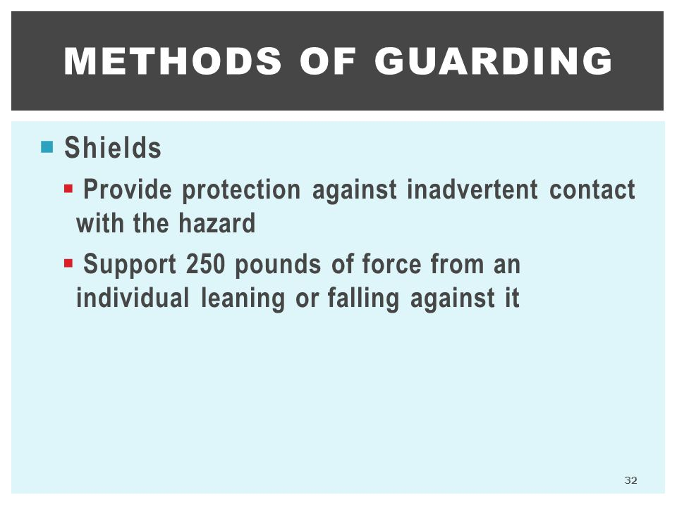 methods of guarding Shields