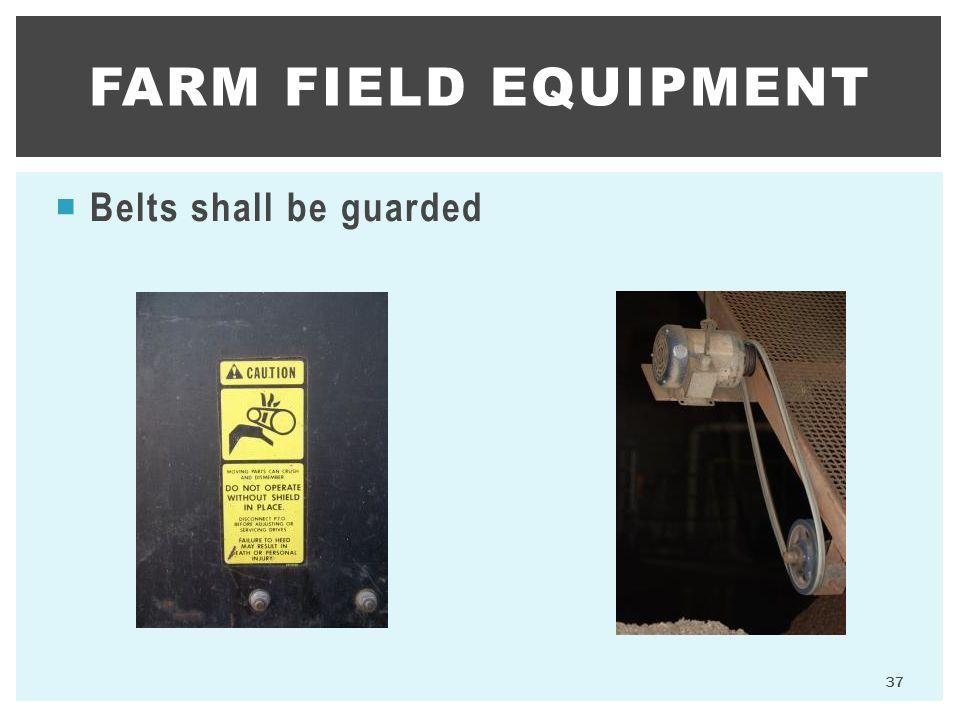 Farm Field Equipment Belts shall be guarded