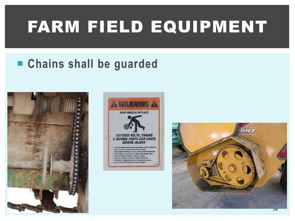 Farm Field Equipment Chains shall be guarded