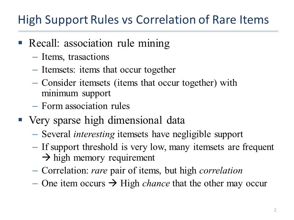 High Support Rules vs Correlation of Rare Items