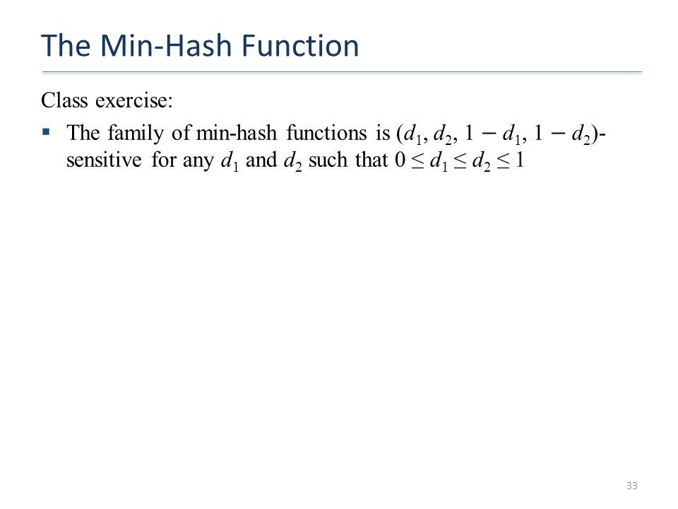 The Min-Hash Function Class exercise: