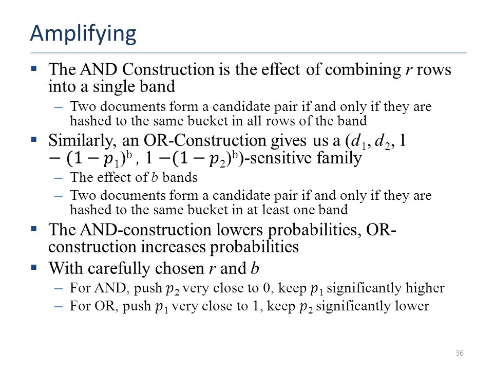 Amplifying The AND Construction is the effect of combining r rows into a single band.