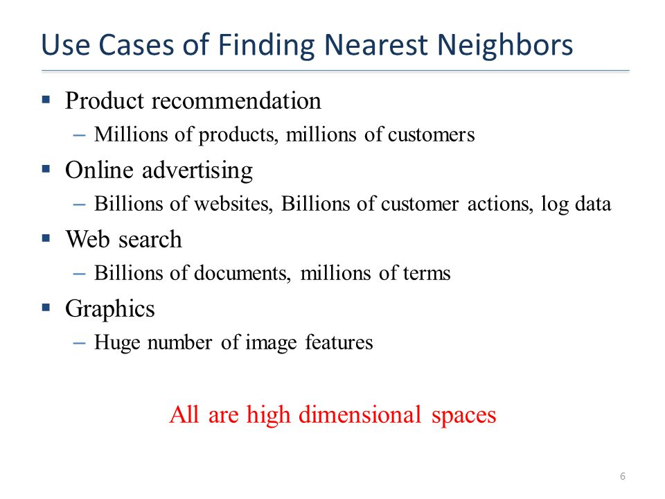 Use Cases of Finding Nearest Neighbors