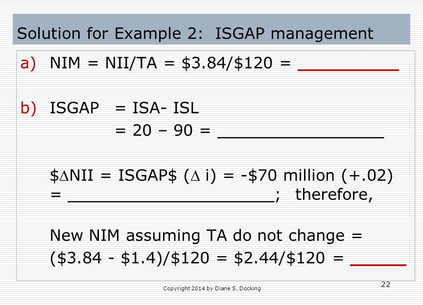 Solution for Example 2: ISGAP management