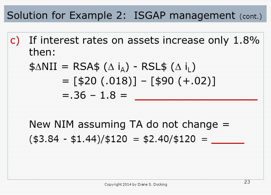 Solution for Example 2: ISGAP management (cont.)