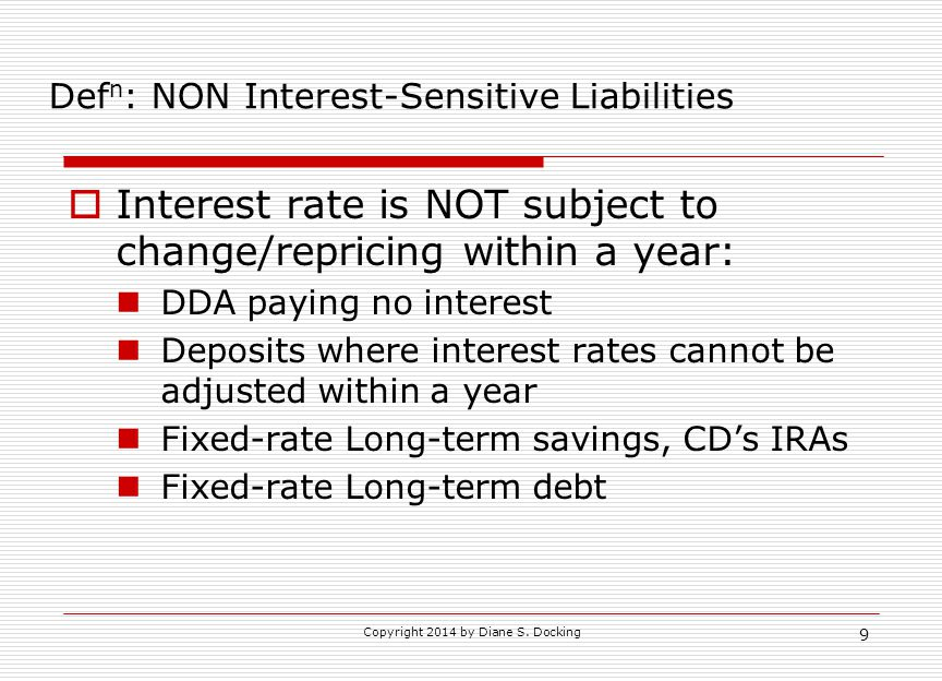 Defn: NON Interest-Sensitive Liabilities