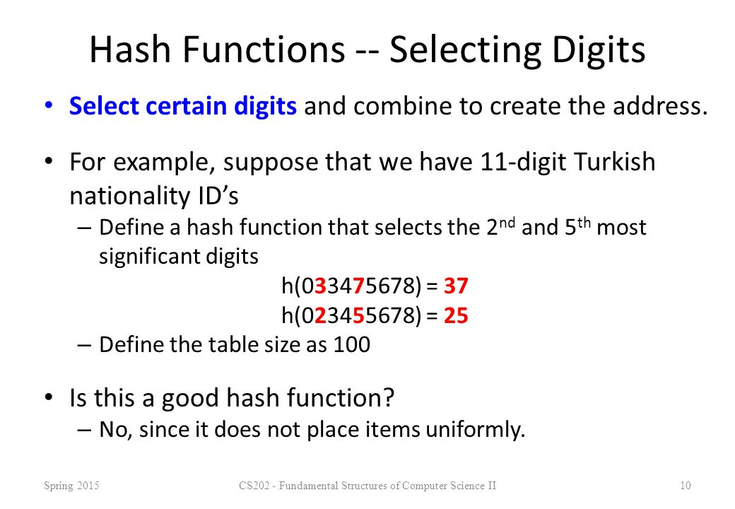 Hash Functions -- Selecting Digits