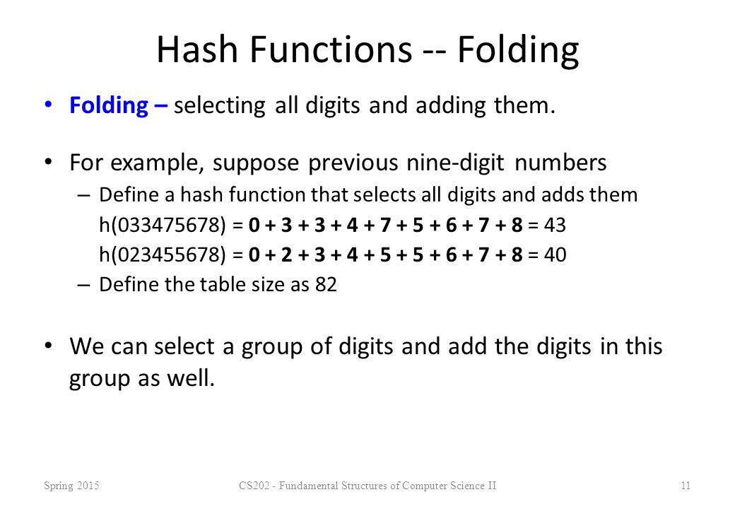 Hash Functions -- Folding