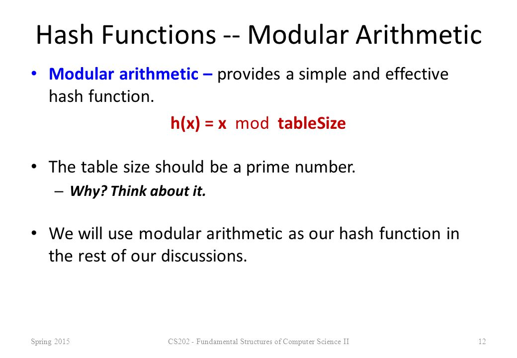 Hash Functions -- Modular Arithmetic