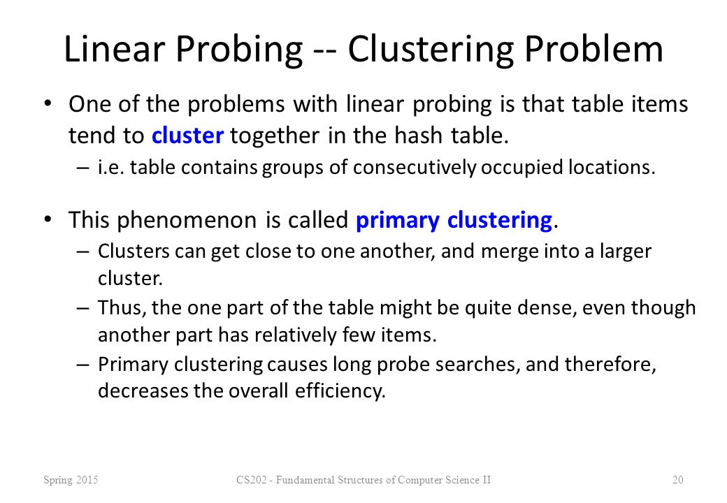 Linear Probing -- Clustering Problem