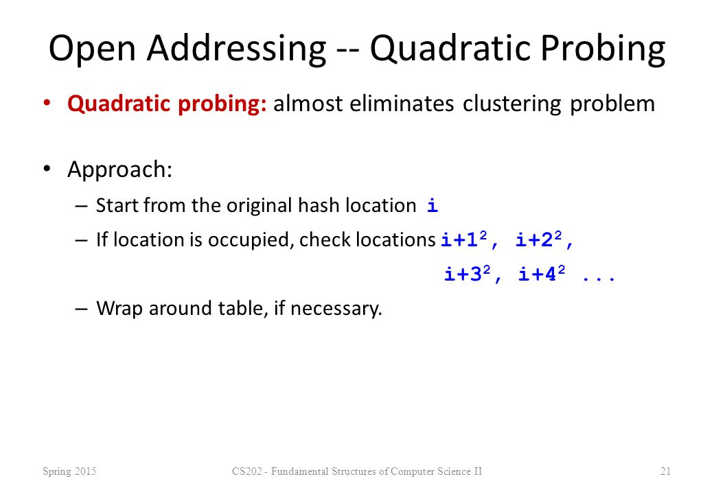 Open Addressing -- Quadratic Probing