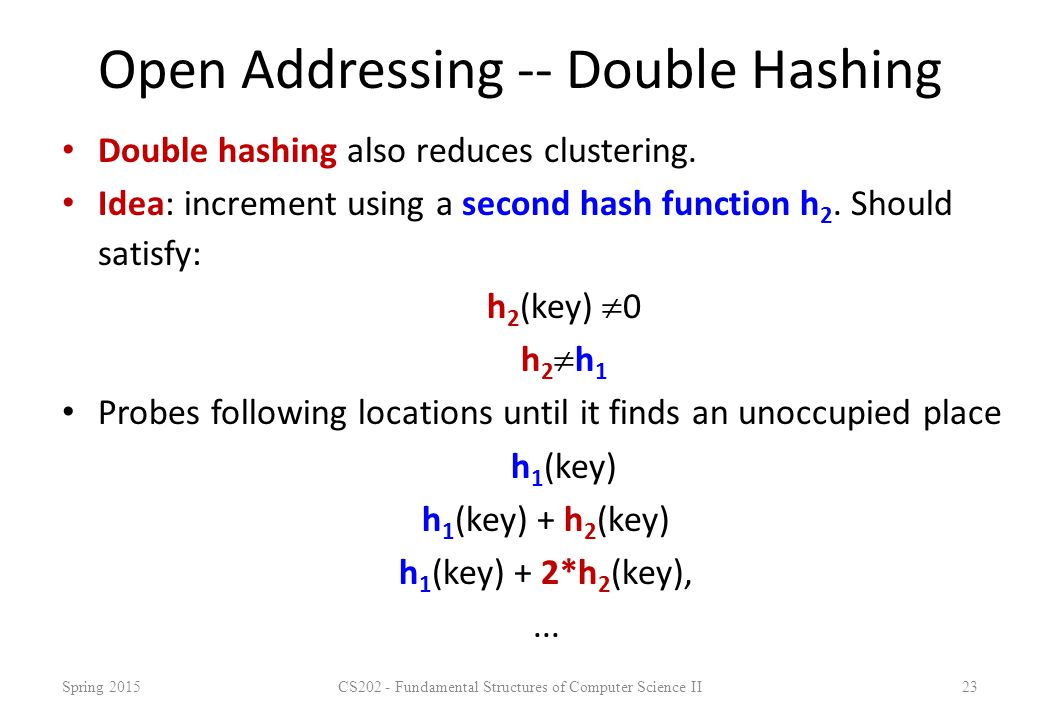 Open Addressing -- Double Hashing