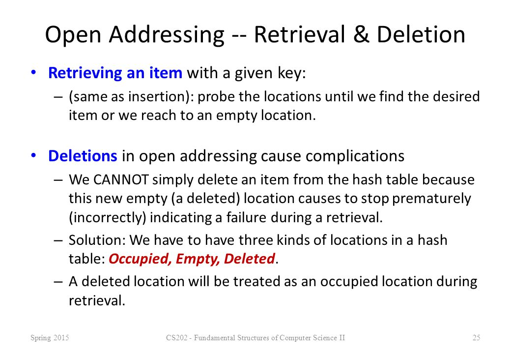 Open Addressing -- Retrieval & Deletion