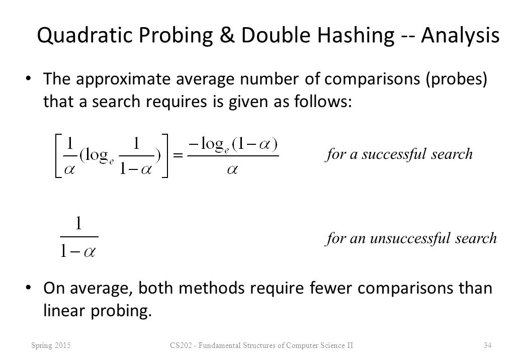 Quadratic Probing & Double Hashing -- Analysis