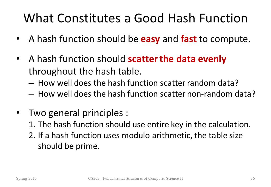 What Constitutes a Good Hash Function