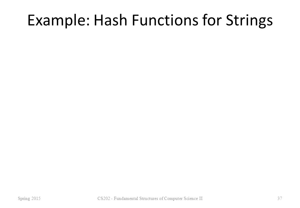 Example: Hash Functions for Strings