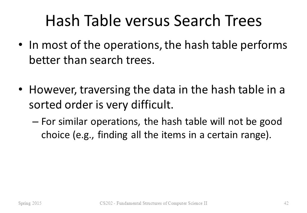 Hash Table versus Search Trees