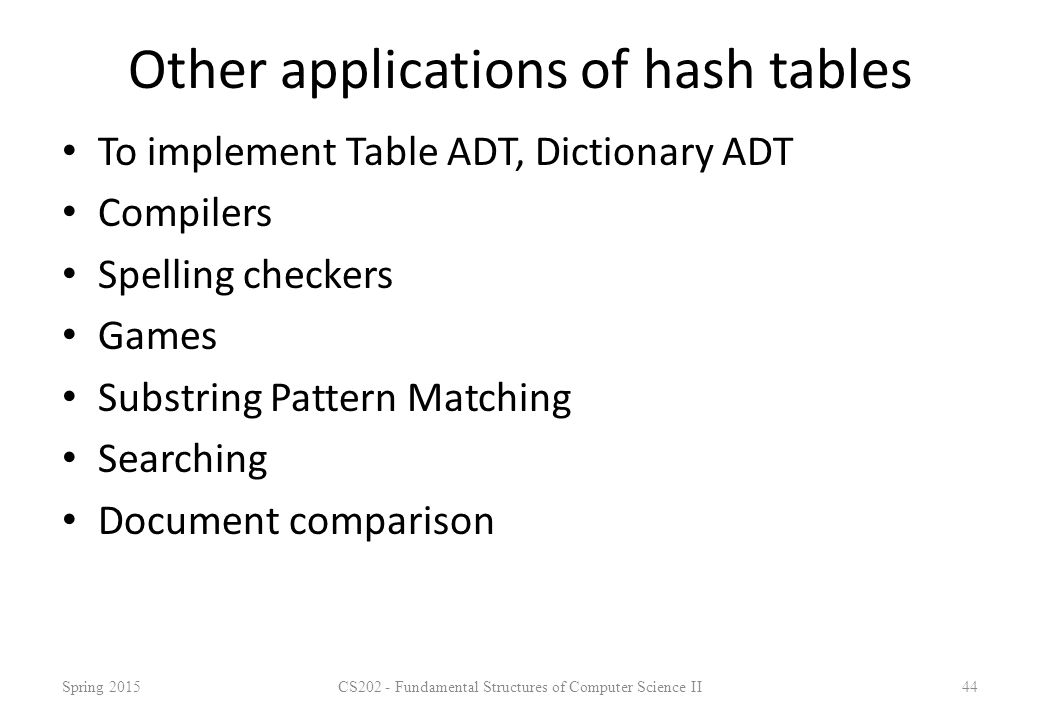 Other applications of hash tables