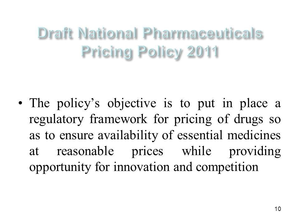 Draft National Pharmaceuticals Pricing Policy 2011