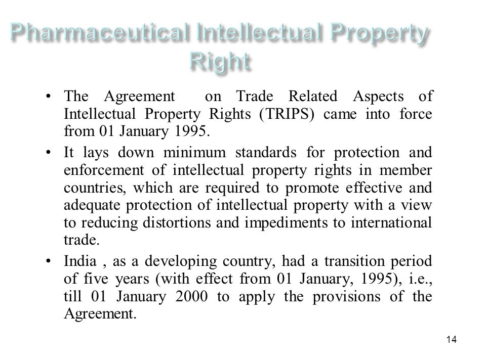 Pharmaceutical Intellectual Property Right